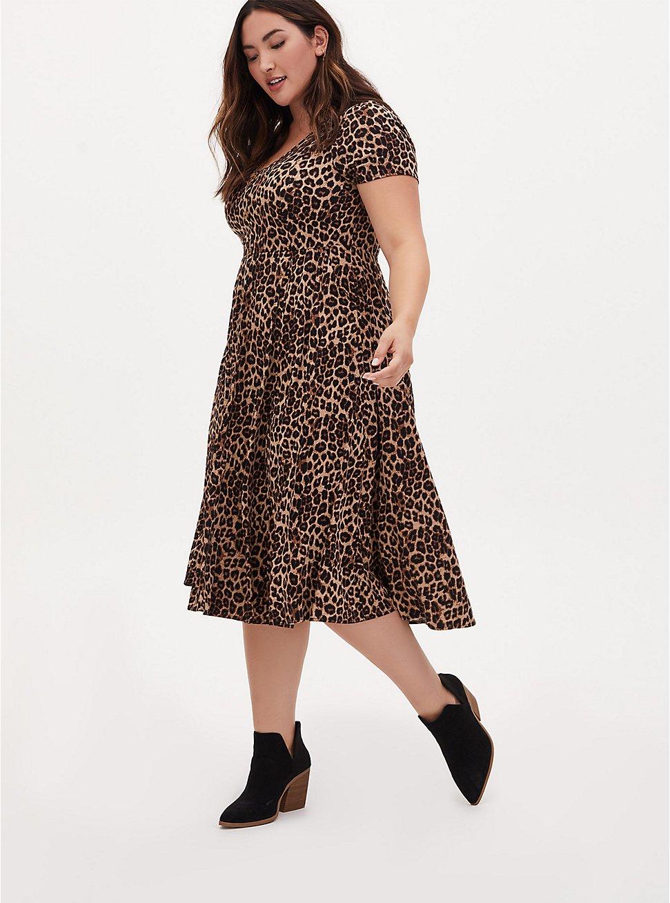 Plus Size Leopard Challis Button Midi Dress, MIDI LEOPARD, hi-res