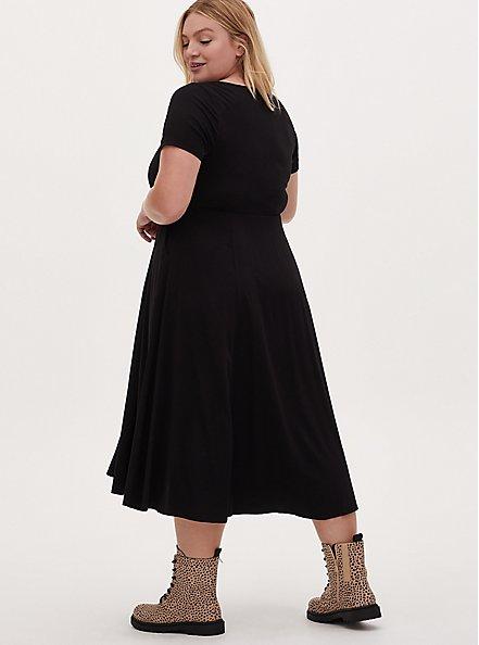 Black Challis Button Front Midi Dress , DEEP BLACK, alternate