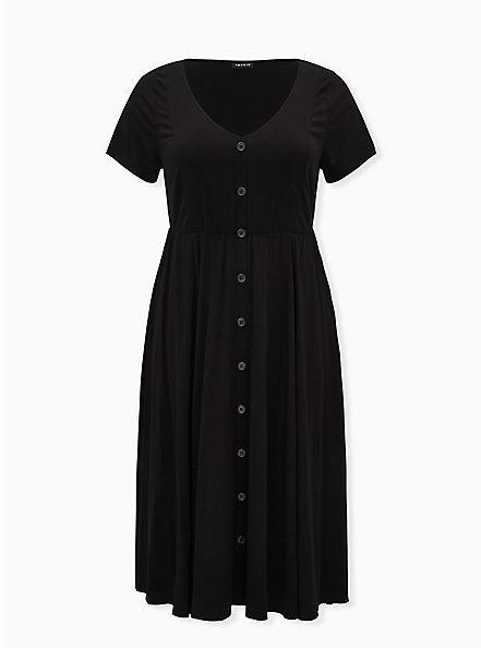 Black Challis Button Front Midi Dress , DEEP BLACK, hi-res