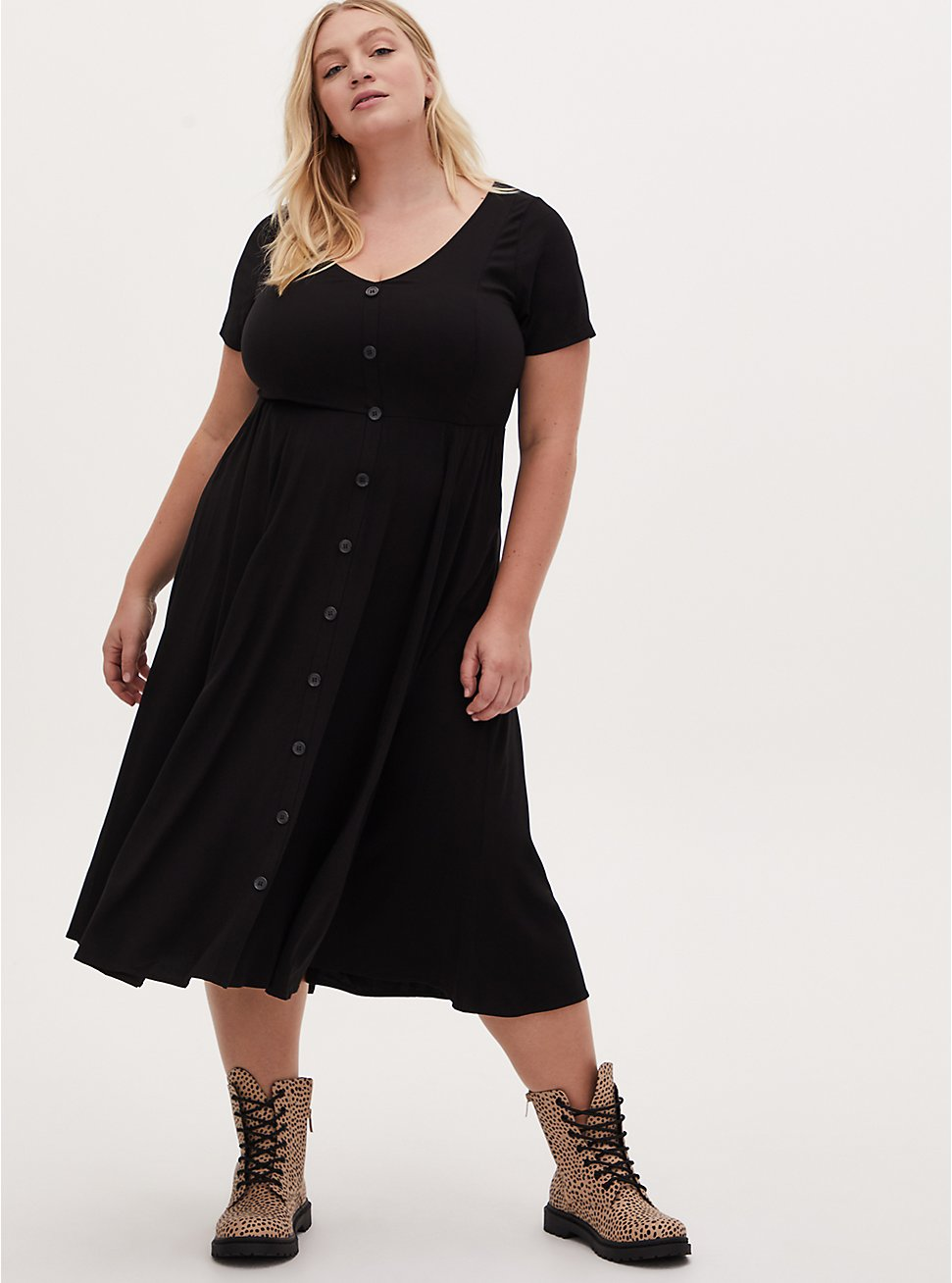 Black Challis Button Front Midi Dress , DEEP BLACK, hi-res