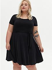 Black Cupro Self Tie Skater Dress, DEEP BLACK, alternate