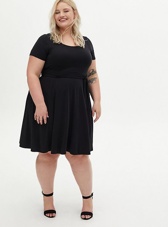 Black Cupro Self Tie Skater Dress, DEEP BLACK, hi-res