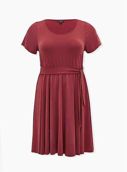 Rust Red Cupro Self Tie Skater Dress, MADDER BROWN, hi-res