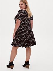 Black Ditsy Floral Ponte Mini Fluted Dress, FLORAL - BLACK, alternate