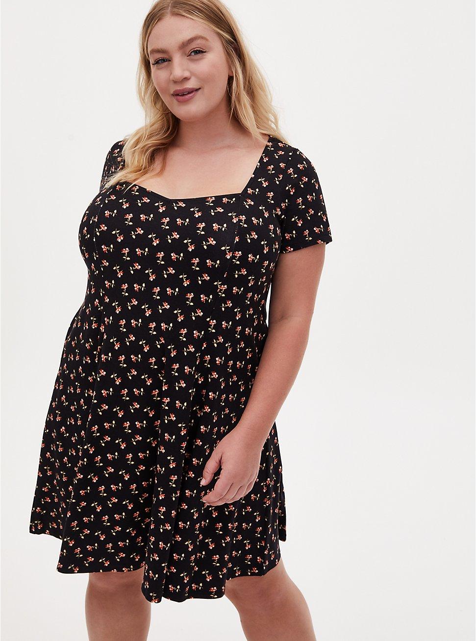 Black Ditsy Floral Ponte Mini Fluted Dress, FLORAL - BLACK, hi-res