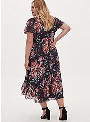 Faux Wrap Dress - Swiss Dot Floral Dark Grey, FLORAL - GREY, alternate