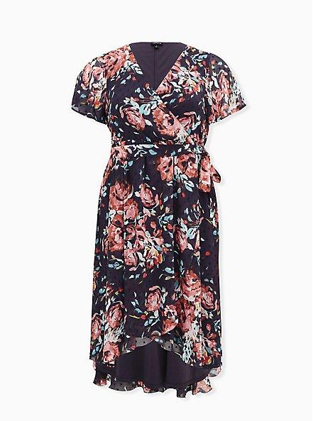 Dark Slate Grey Floral Swiss Dot Wrap Dress, FLORAL - GREY, hi-res