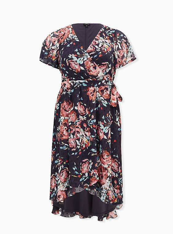 Faux Wrap Dress - Swiss Dot Floral Dark Grey, , flat