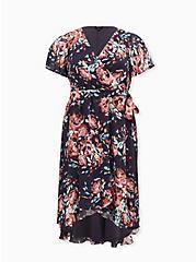 Faux Wrap Dress - Swiss Dot Floral Dark Grey, FLORAL - GREY, hi-res