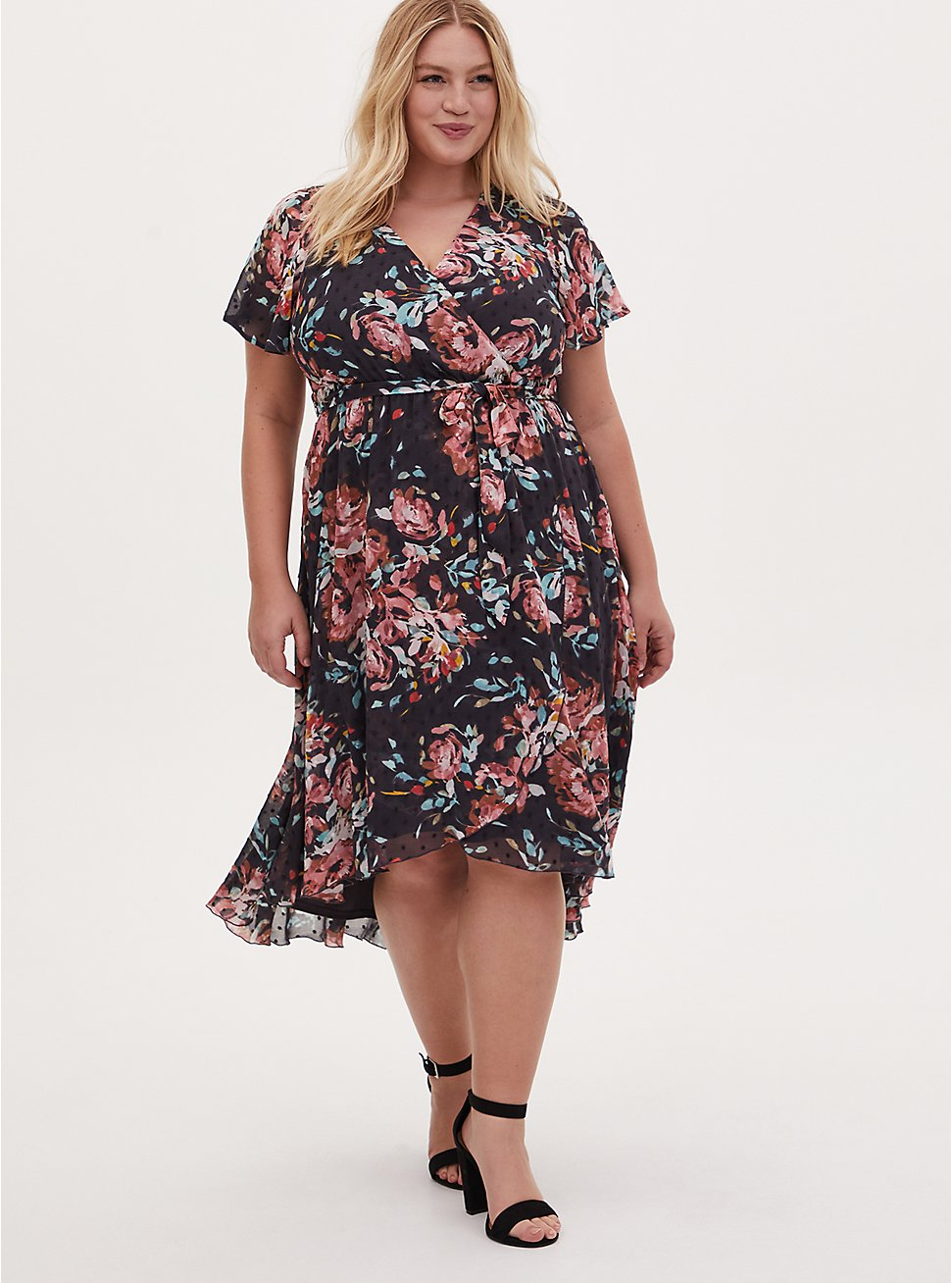 Faux Wrap Dress - Swiss Dot Floral Dark Grey, , hi-res