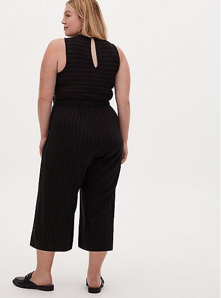 Black Stripe Ponte Surplice Jumpsuit, STRIPE-BLACK, alternate