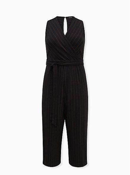 Black Stripe Ponte Surplice Jumpsuit, STRIPE-BLACK, hi-res