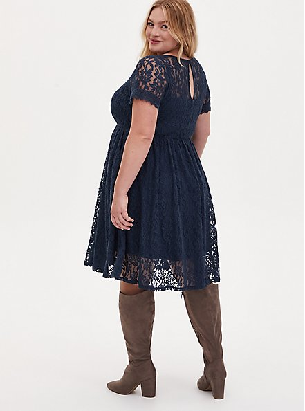 Navy Lace Skater Dress, MIDNIGHT BLUE, alternate