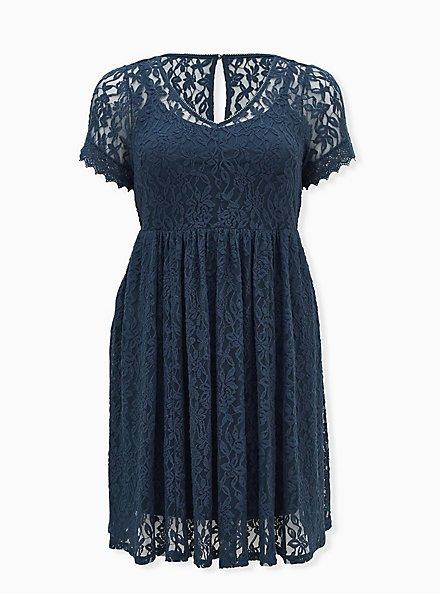 Navy Lace Skater Dress, MIDNIGHT BLUE, hi-res