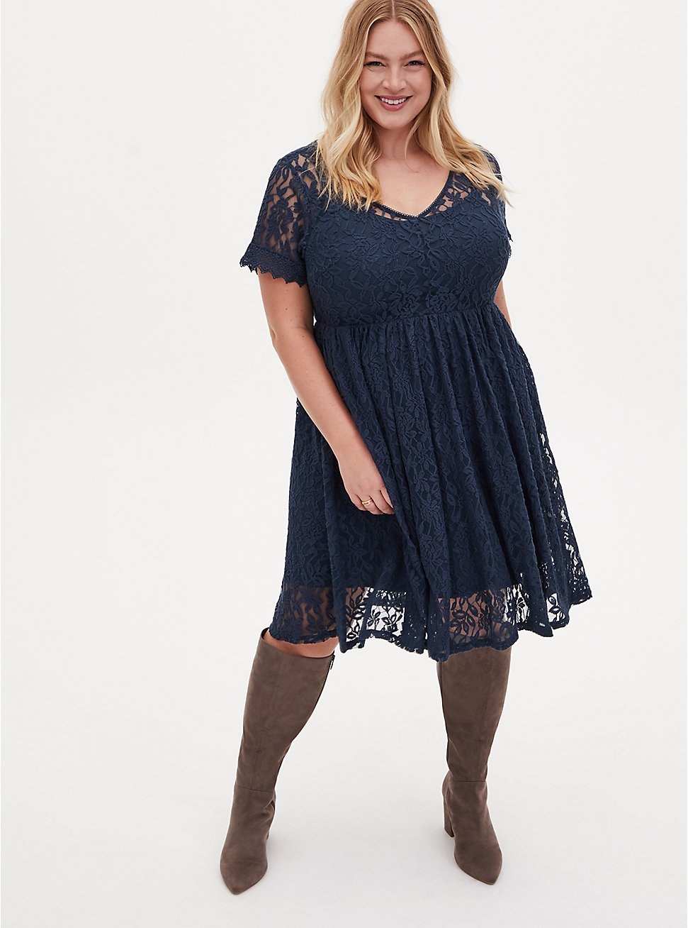 Plus Size Navy Lace Skater Dress, MIDNIGHT BLUE, hi-res