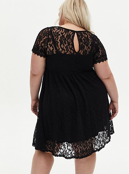 Plus Size Black Lace Skater Dress, DEEP BLACK, alternate