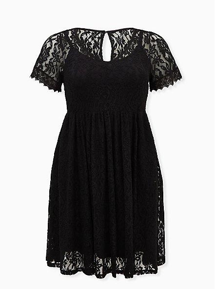 Plus Size Black Lace Skater Dress, DEEP BLACK, hi-res