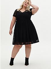 Black Lace Skater Dress, DEEP BLACK, hi-res