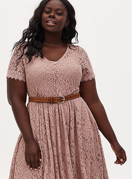 Taupe Lace Skater Dress, FAWN, alternate