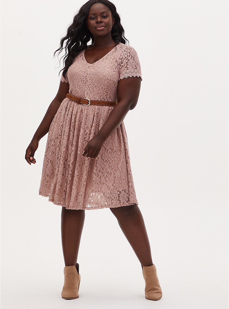 Taupe Lace Skater Dress, FAWN, hi-res