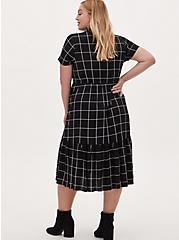 Black Grid Challis Button Front Drawstring Midi Shirt Dress, PLAID - BLACK, alternate
