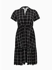 Black Grid Challis Button Front Drawstring Midi Shirt Dress, PLAID - BLACK, hi-res