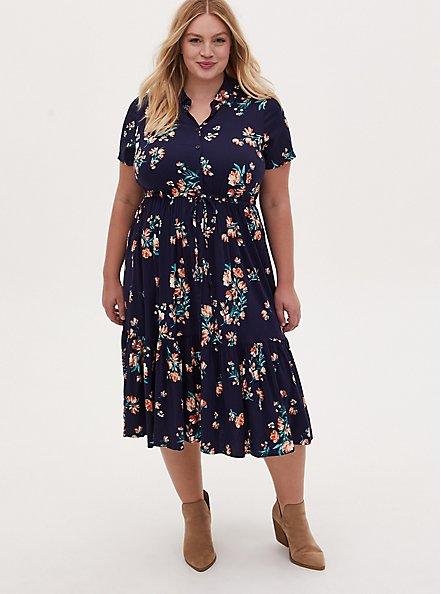 Navy Floral Challis Button Front Drawstring Midi Shirt Dress, FLORAL - GREEN, hi-res