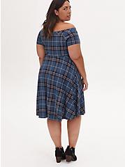 Plus Size Teal Blue Plaid Premium Ponte Twisted Off Shoulder Skater Dress, PLAID - NAVY, alternate