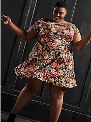 Black Floral Premium Ponte Twisted Off Shoulder Skater Dress, FLORAL - BLACK, hi-res