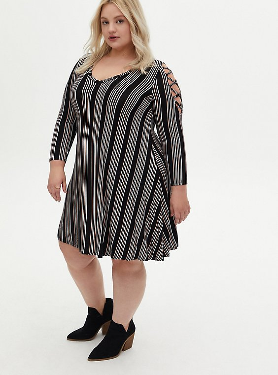Super Soft Black Stripe Lattice Sleeve Mini Trapeze Dress, STRIPE-BLACK, hi-res