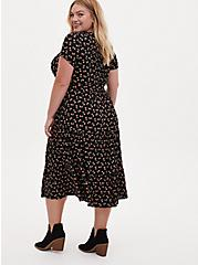 Plus Size Black Ditsy Floral Jersey Self Tie Tiered Midi Dress, FLORAL - BLACK, alternate