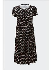 Plus Size Black Ditsy Floral Jersey Self Tie Tiered Midi Dress, FLORAL - BLACK, hi-res