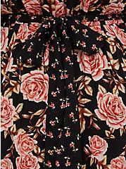 Black Mixed Floral Challis Self Tie Button Down Midi Dress, FLORAL - BLACK, alternate