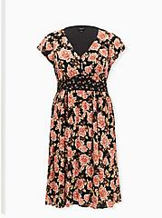 Black Mixed Floral Challis Self Tie Button Down Midi Dress, FLORAL - BLACK, hi-res