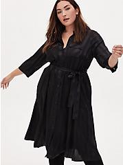 Black Stripe Satin Self Tie Midi Shirt Dress , STRIPE -BLACK, alternate