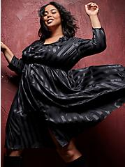 Black Stripe Satin Self Tie Midi Shirt Dress , STRIPE -BLACK, hi-res