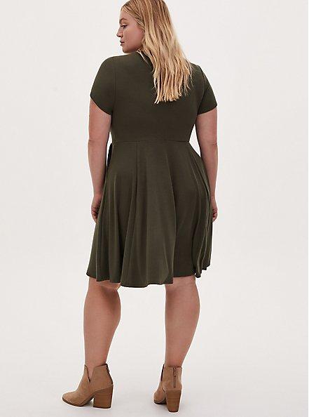 Olive Green Rib Twisted Mini Skater Dress, DEEP DEPTHS, alternate