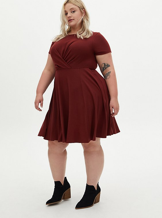 Rust Red Rib Twisted Mini Skater Dress, , hi-res
