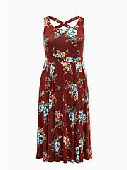 Super Soft Brick Red Floral Crossback Midi Dress, FLORAL - BROWN, hi-res