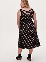 Plus Size Super Soft Black Fox Crossback Midi Dress, FOX - BLACK, hi-res
