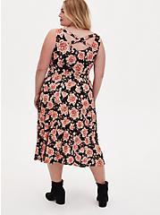 Super Soft Black Floral Crossback Midi Dress, FLORAL - BLACK, alternate