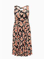 Super Soft Black Floral Crossback Midi Dress, FLORAL - BLACK, hi-res