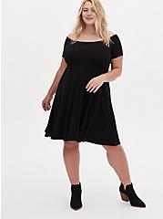 Black Rib Off Shoulder Skater Dress, DEEP BLACK, hi-res