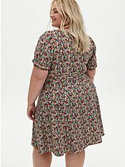 Multi Floral Textured Mini Skater Dress, FLORAL - BLACK, alternate
