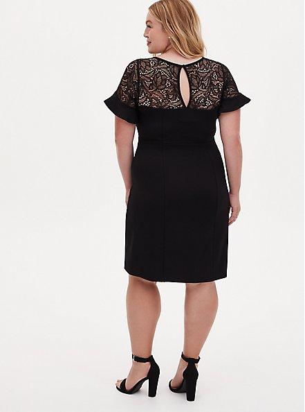 Plus Size Black Scuba Knit Lace Inset Shift Dress , DEEP BLACK, alternate