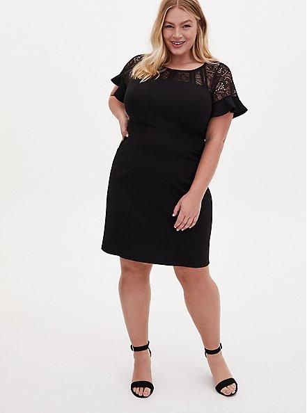 Plus Size Black Scuba Knit Lace Inset Shift Dress , DEEP BLACK, hi-res