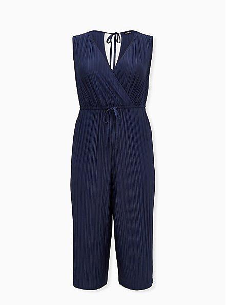 Plus Size Navy Pleated Knit Surplice Drawstring Culotte Jumpsuit, STRIPE - TEAL, hi-res