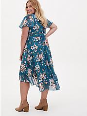 Teal Floral Chiffon Wrap Dress, FLORAL - GREEN, alternate