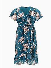 Teal Floral Chiffon Wrap Dress, FLORAL - GREEN, hi-res