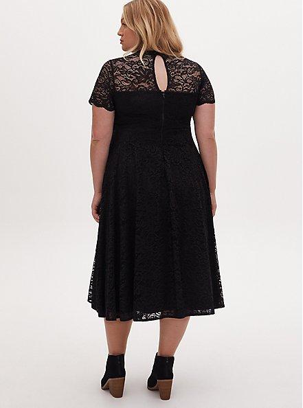 Special Occasion Black Lace & Tulle Midi Dress , DEEP BLACK, alternate